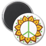 Henna Lotus Flower Peace Sign 2 Inch Round Magnet