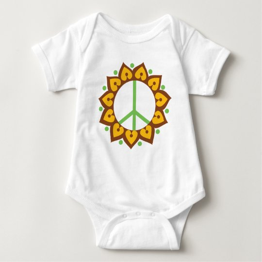 Henna Lotus Flower Peace Sign Baby Bodysuit