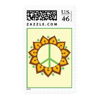 Henna Lotus Flower Peace Sign Postage