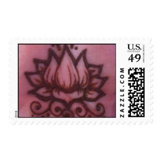 Henna Lotus Postage Stamp