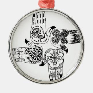 Henna Mehndi Hands Indian Designs Painted Wedding Metal Ornament