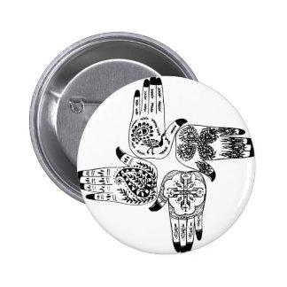Henna Mehndi Hands Indian Designs Painted Wedding Pinback Button
