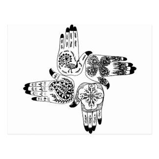 Henna Mehndi Hands Indian Designs Painted Wedding Postcard