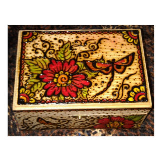 Henna on Wooden Box Post Card