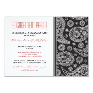 Henna Paisley Engagement Party Invitation (black)