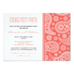 "Henna Paisley Engagement Party Invitation (coral) 5"" X 7"" Invitation Card"