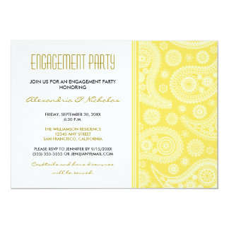 Henna Paisley Engagement Party Invitation Lemon