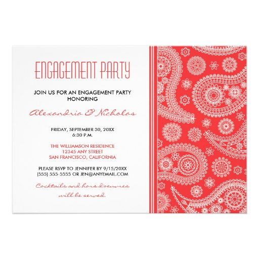 Inai Party Mehndi Red : Henna paisley engagement party invitation red zazzle