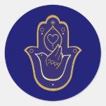 Henna Peace & Love Hamsa Blue Classic Round Sticker