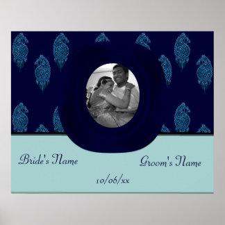 Henna Peacock (Blue) (Wedding) Poster