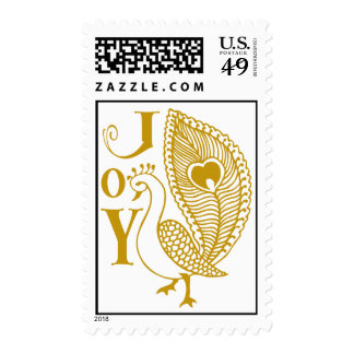 Henna Peacock / Gold Postage Stamps