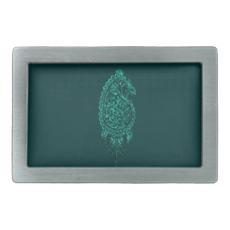 Henna Peacock (Turquoise) Belt Buckle