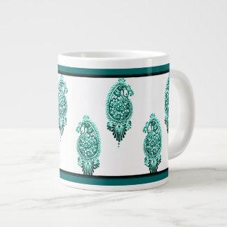 Henna Peacock (Turquoise) Giant Coffee Mug