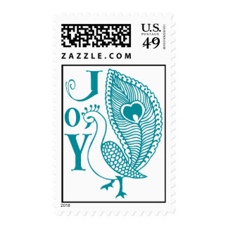 Henna Peacock / Turquoise Postage Stamps
