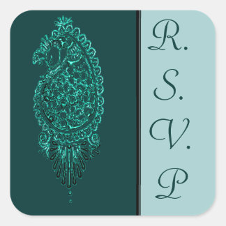 Henna Peacock (Turquoise) (Wedding) Square Sticker