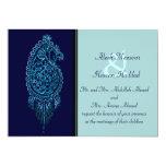 Henna Peacock (Wedding) (Blue) Custom Invites