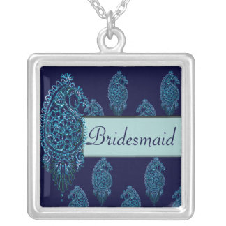 Henna Peacock (Wedding) (Blue) Custom Necklace