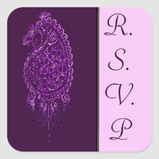 Henna Peacock (Wedding) (Violet) Square Sticker