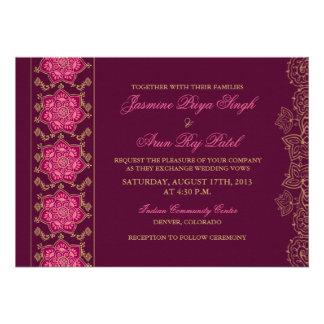 Henna Raisin Pink Gold Indian Wedding Invitation
