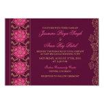 "Henna Raisin Pink Gold Indian Wedding Invitation 5"" X 7"" Invitation Card"