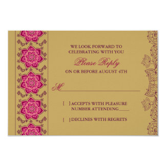 Henna Raisin Pink Gold Indian Wedding RSVP Reply Card