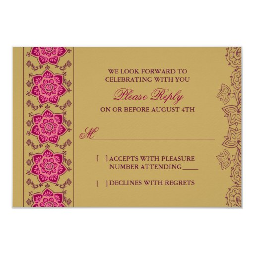 Henna Raisin Pink Gold Indian Wedding RSVP Reply Announcement