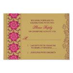 "Henna Raisin Pink Gold Indian Wedding RSVP Reply 3.5"" X 5"" Invitation Card"