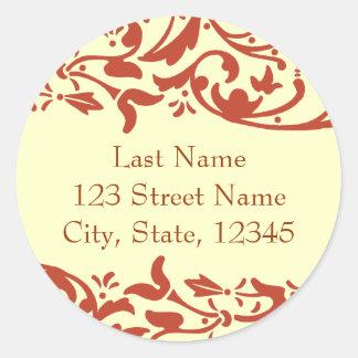 Henna Return Address Envelope Seal Classic Round Sticker
