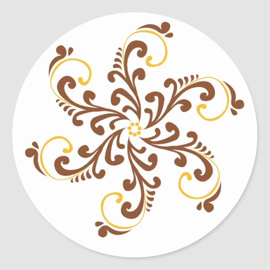 Henna Spiral Flower Classic Round Sticker