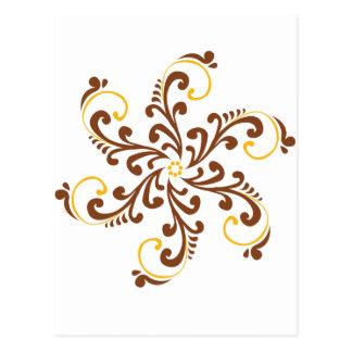 Henna Spiral Flower Post Cards