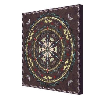 Henna Style Garden Mandala Wrapped Canvas