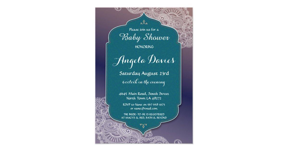 Henna Style Jewel Baby Shower Invite Arabian Party ...
