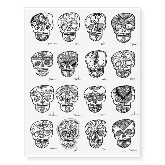 af62a05dc Henna Sugar Skulls Temporary Tattoos Black Art | Zazzle.com
