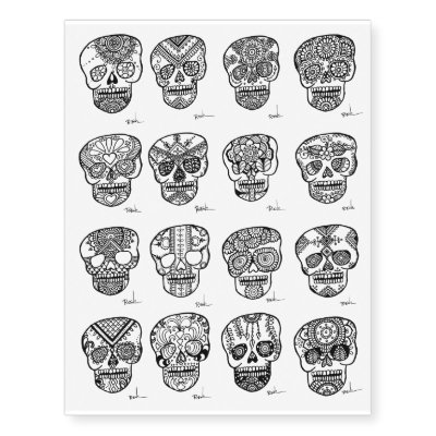8731ecd29 Sugar Skull Temporary Tattoos - Day of the Dead! | Zazzle.com