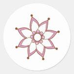 Henna Tattoo Flower Round Stickers
