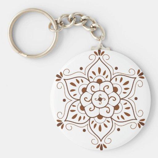 Henna Tattoo Mandala Basic Round Button Keychain