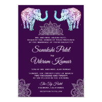 Henna Tattooed Elephants Indian Wedding Invitation