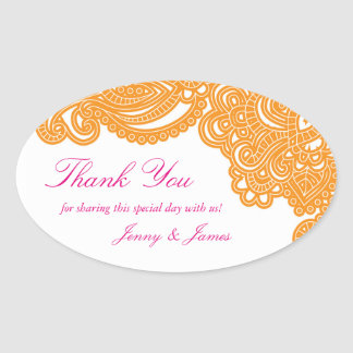 Henna Thank You Oval Stickers