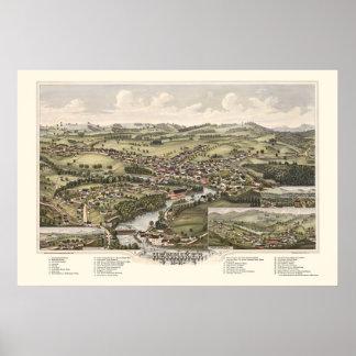 Henniker, mapa panorámico del NH - 1889 Póster