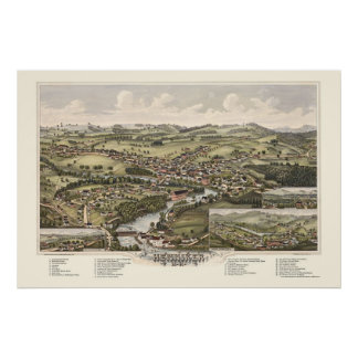 Henniker, NH Panoramic Map - 1889 Poster