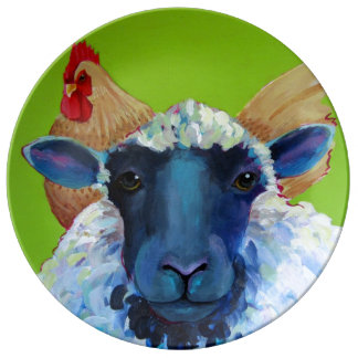 Henny and Wooley Sheep and Chicken Porcelain Plate