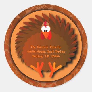Henny Thanksgiving Address Label Classic Round Sticker