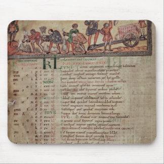 Heno-making y arado, de un calendario tapetes de ratones