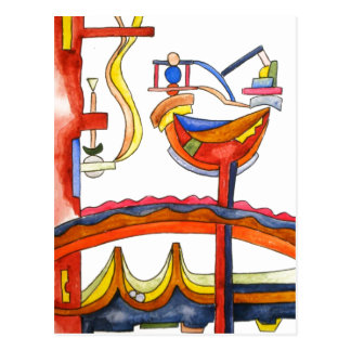 Henpecked Rooster - Abstract Art Postcard