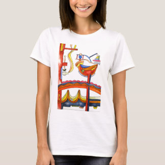 Henpecked Rooster-Hand Painted Abstract Art T-Shirt