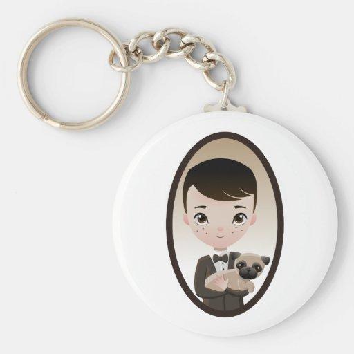 Henri and Pepper Basic Round Button Keychain