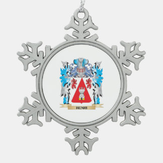 Henri Coat of Arms - Family Crest Snowflake Pewter Christmas Ornament
