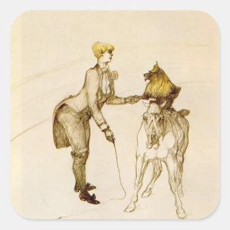 Henri de Lautrec: At the Circus The Animal Trainer Square Stickers
