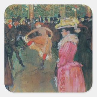 Henri de -Lautrec- At the Rouge, The Dance Square Stickers