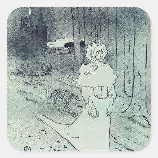 Henri de Lautrec- The Chatelaine (The Tocsin) Square Stickers